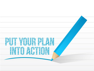 plan into action written on a white paper.