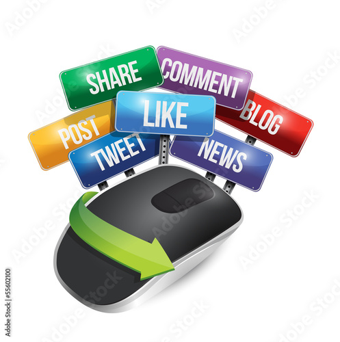 mouse with social media signs illustration