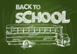 Back to school bus text chalkboard illustration EPS10 file.