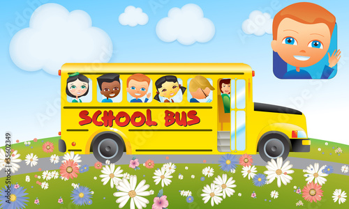 School Bus with Kids for calendar