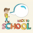 Back to school colorful boy cartoon illustration.