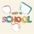 Back to school colorful text social media bubbles.