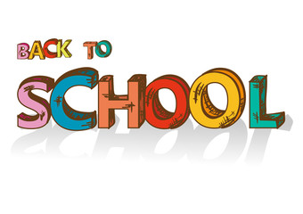 Colorful back to school text education concept background.