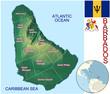 Barbados Caribbean national emblem map globe symbol location