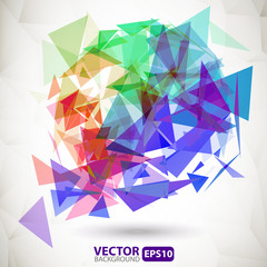 Abstract colorful geometric background with explosion