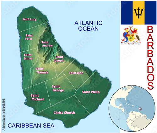 Barbados Caribbean national emblem map globe symbol location