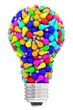 Lightbulb shape composed of many colorful small lightbulbs