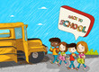 Back to school kids education cartoon illustration.