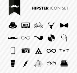 Black isolated vintage hipster icon set.