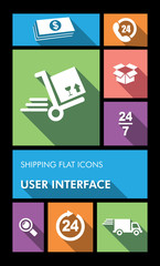 Colorful shipping UI apps user interface flat icons.