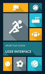 Colorful sport UI apps user interface flat icons.