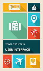 Colorful travel UI apps user interface flat icons.