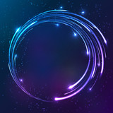 Bright shining neon lights circle background