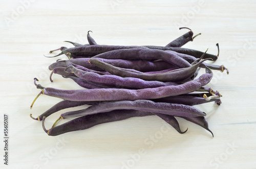 Purple wax snap beans