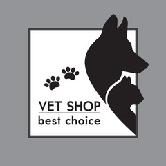 Dog's and Cat's Silhouettes. Veterinary shop poster