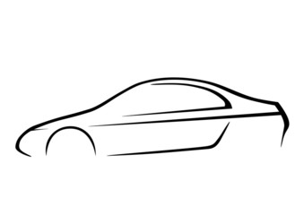 Design of a sports car on white background