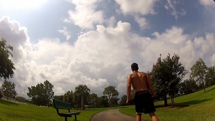 HD: man stretching outdoors - lunge