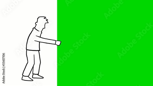 Animation of a man pulling green screen to the left