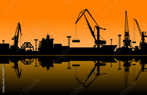 Working cranes in sea port - 55607531