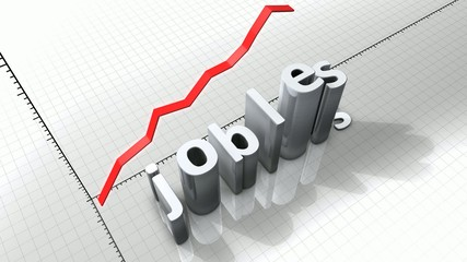 Growing chart graphic animation, rising jobless