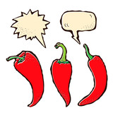Cartoon hot chili peppers with speech bubbles on a white backgro