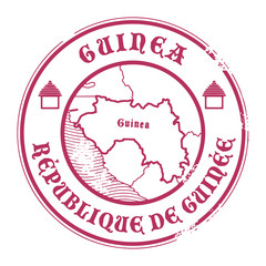 Grunge rubber stamp with the name and map of Guinea, vector