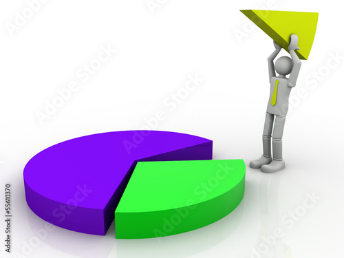 3D Business man assembling a pie chart