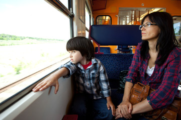 Mother and son travel in the train