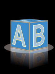 abc brick with reflection vector illustration