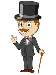Cartoon happy gentleman with stick