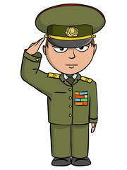 Military cartoon man salutes