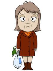 Cartoon old woman in brown coat