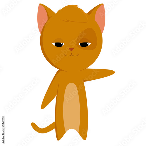 Cartoon cat with pointed paw