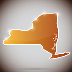 vintage sticker in form of New York state, USA