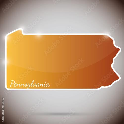 vintage sticker in form of Pennsylvania state, USA
