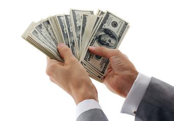 hands of businessman calculating money