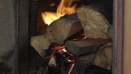 Firewood are burning in a stove