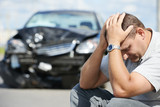 Fototapety upset man after car crash