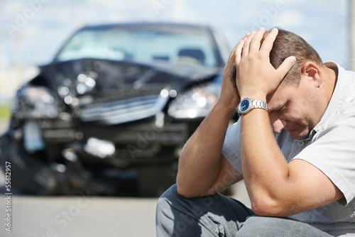 Leinwandbild Motiv upset man after car crash