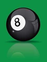 black billiard ball with reflection vector illustration