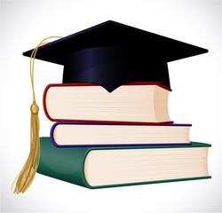 Graduation cap on stuck of books. Vector illustration.