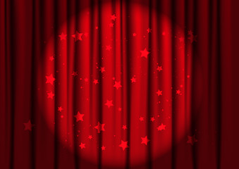 Red curtains with light