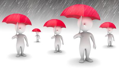 5 Männchen mit Regenschirm