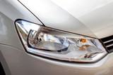 Abstract Silver Car And Front Headlight