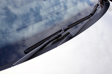 Abstract Silver Car And Front Windscreen Wipers
