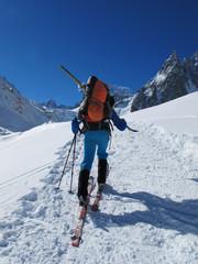 Ski touring in winter Alps
