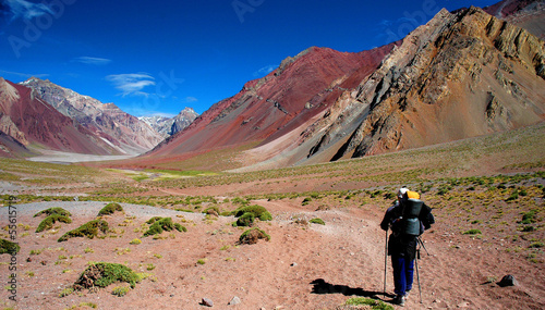 Hiker walking to Aconcagua summit, Argentina