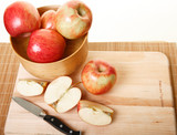 Cutting Apples on Wood Cutting Board