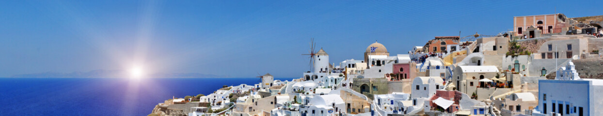 panorama of Oia at the greek island of Santorini