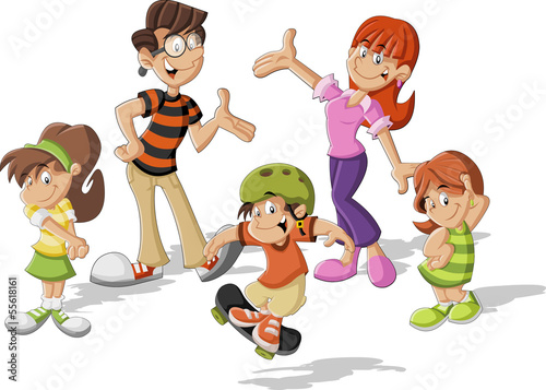 Colorful cute happy cartoon family